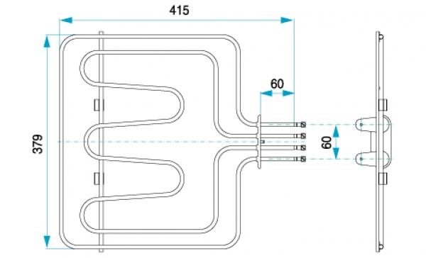TYP 4720 - pre pečiace rúry kuchynských sporákov FIKO (horné ohrievacie teleso s grilom)