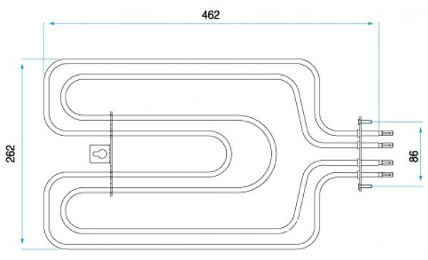TYP 6208 - pre pečiace rúry kuchynských sporákov MORA (horné ohrievacie teleso s grilom)