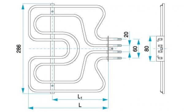 TYP 4987 - pre pečiace kuchynské rúry E-K ZDICE (horné ohrievacie teleso s grilom)