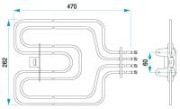 TYP 4470 - pre pečiace rúry kuchynských sporákov MORA (horné ohrievacie teleso s grilom)