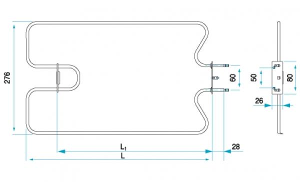 TYP 4980 - pre pečiace kuchynské rúry E-K ZDICE (horné ohrievacie teleso)
